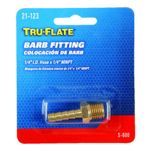 Tru-Flate  Brass  Barb Hose Fitting  1/4 in. 1/4 in. ID Hose x 1/4 in. MNPT  Male  1/4 in. Male  1 p