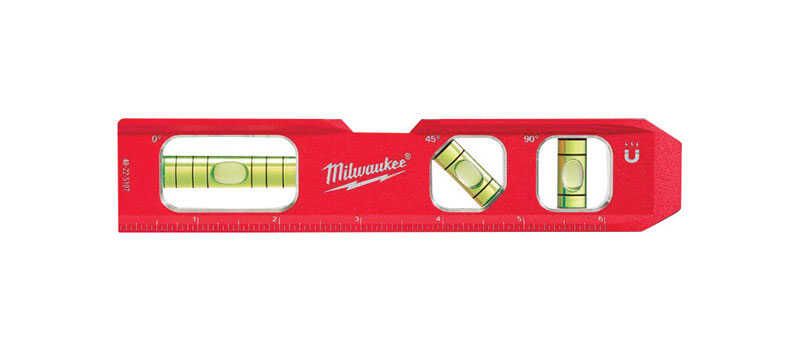 Milwaukee  7 in. Aluminum  Magnetic Compact  Torpedo  Level  3 vial