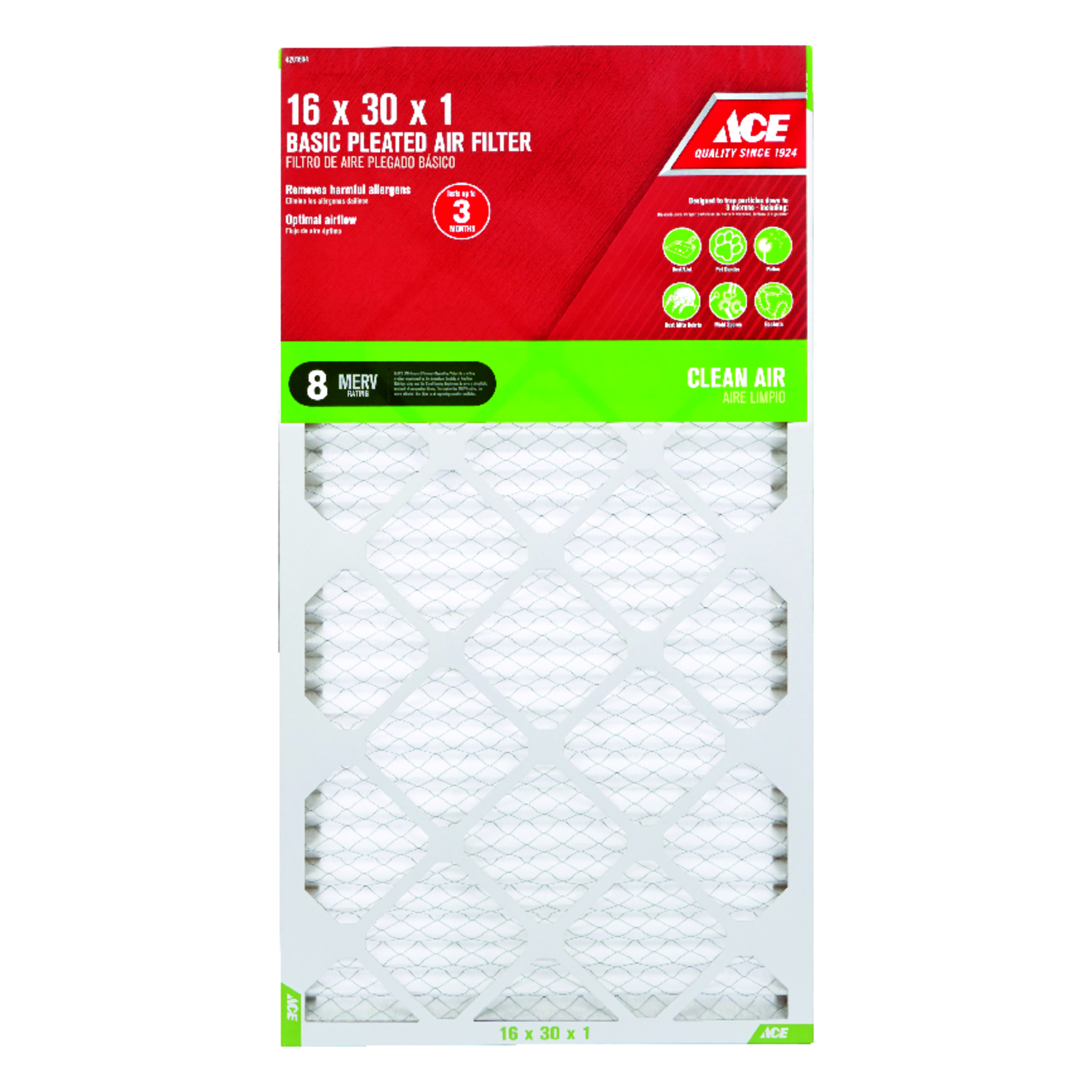 Ace  30 in. H x 16 in. W x 1 in. D Pleated  Air Filter