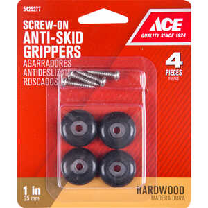 Ace  Plastic  Heavy Duty Anti-Skid Pads  Black  Round  1 in. W 4 pk