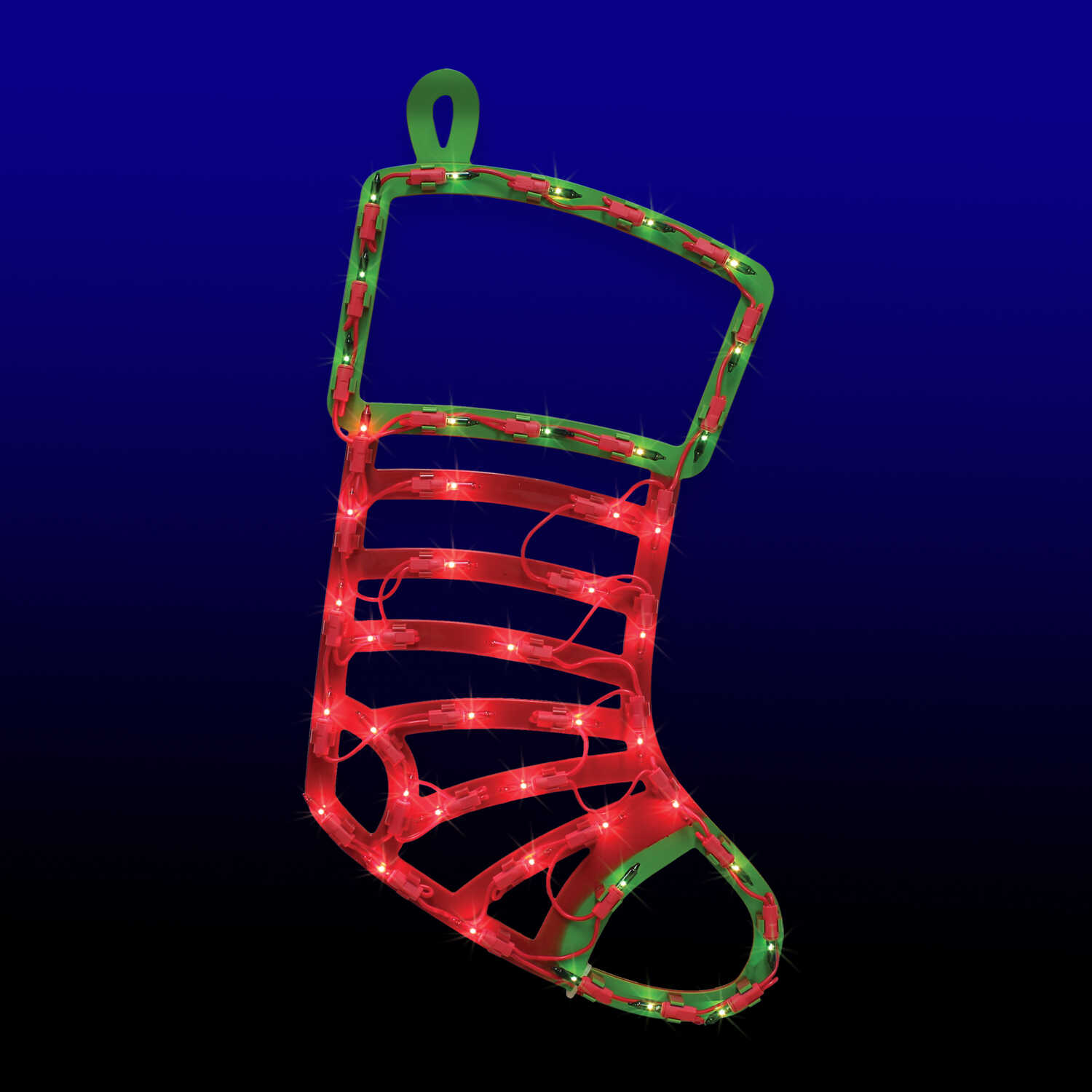 Impact Innovations  Lit Stocking Silhouette  Christmas Decoration  Red/Green  1 pk PVC