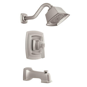 Moen  Boardwalk  One Handle  Tub and Shower Faucet  Brushed Nickel Finish Metal Material