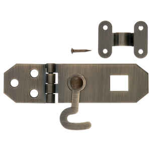 Ace  Antique  Brass  0.8 in. W x 2.8 in. L 2.8 in. 1 pk Decorative Hasp w/Hooks