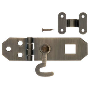 Ace  Antique  Brass  1  0.8 in. W x 2.8 in. L 2.8 in. Decorative Hasp With Hooks