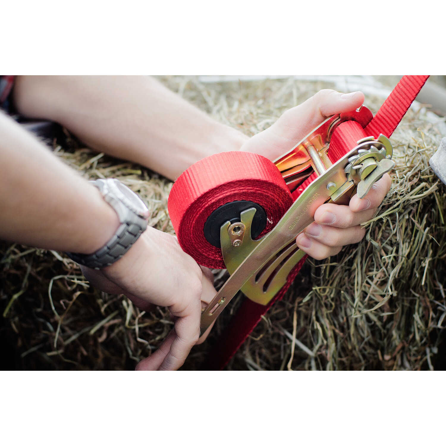 Quickloader  15 ft. L Red  Retractable Tie Down Strap  1500 lb.