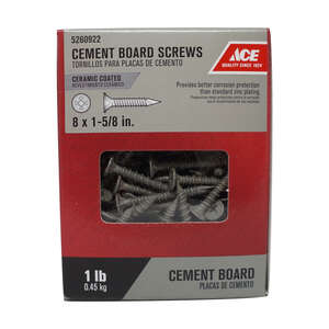 Ace  No. 8   x 1-5/8 in. L Phillips  Wafer Head Ceramic  Steel  Cement Board Screws  1 lb. 134 pk
