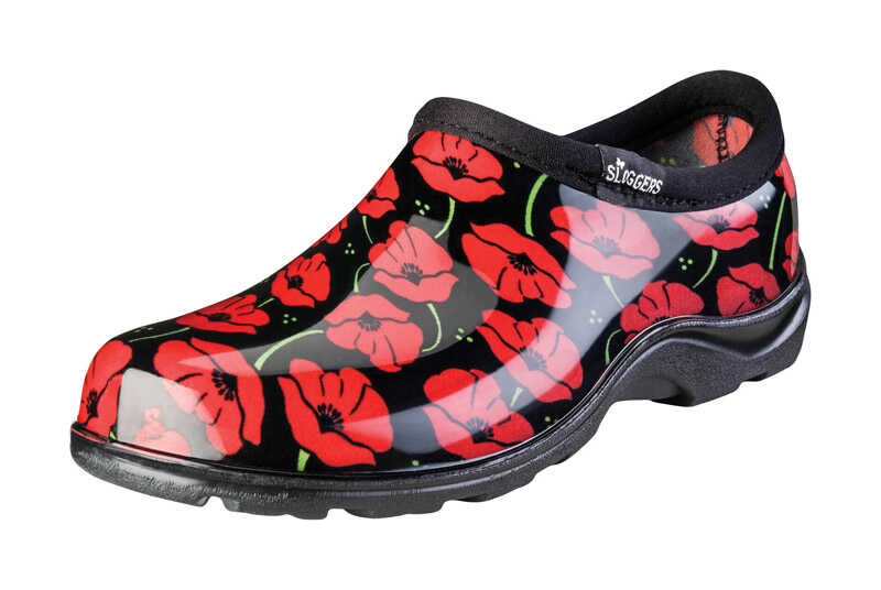 Sloggers  Red Poppies  Women's  Garden/Rain Shoes  7 US  Black/Red
