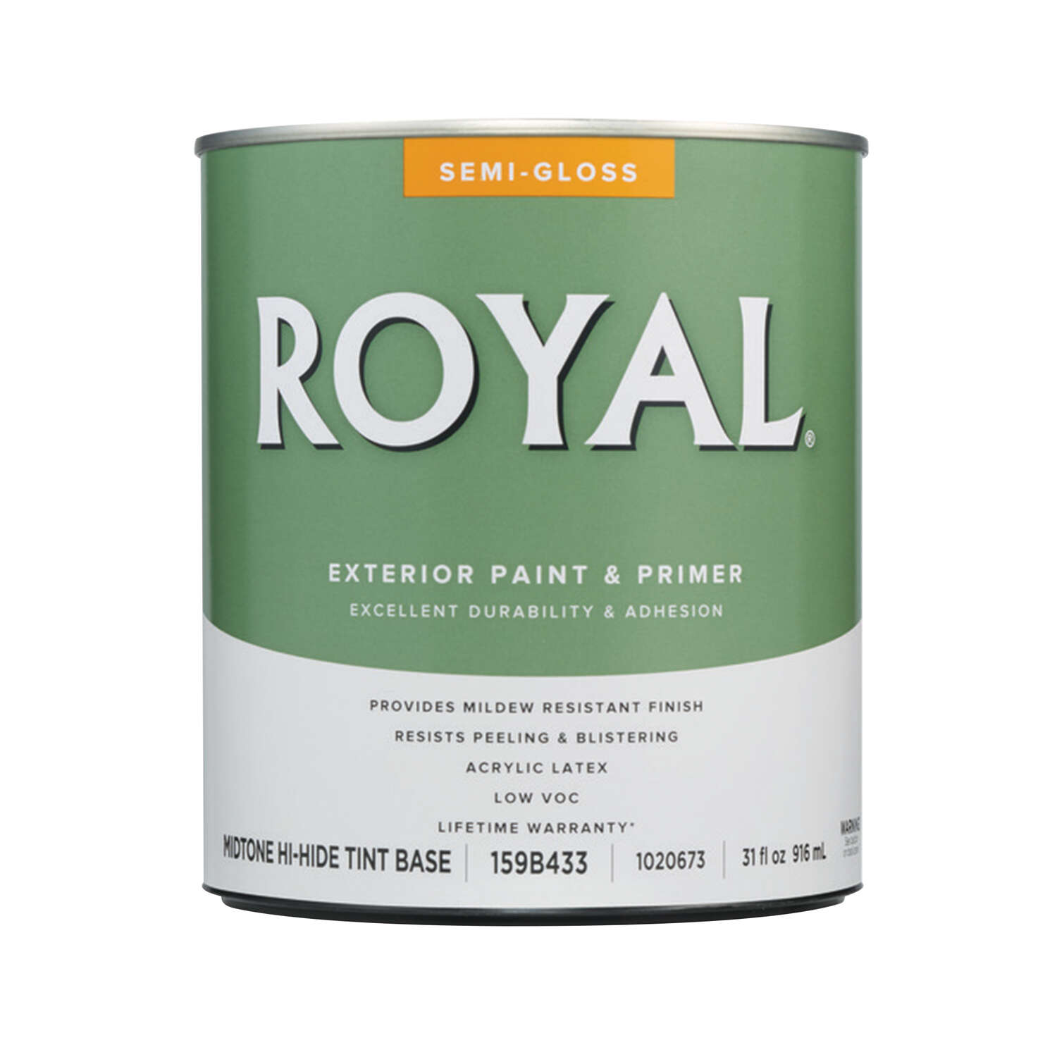 Royal  Semi-Gloss  Tint Base  Mid-Tone Base  Acrylic Latex  Paint  Exterior  1 qt.