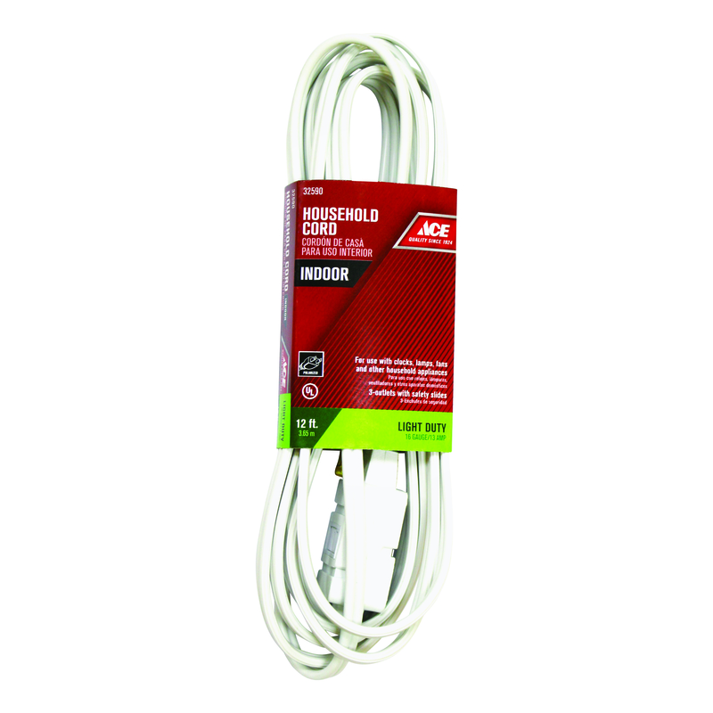 Ace  Indoor  White  Extension Cord  16/2 SPT-2  12 ft. L