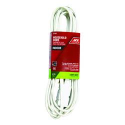 Ace  Indoor  12 ft. L White  Extension Cord  16/2 SPT-2