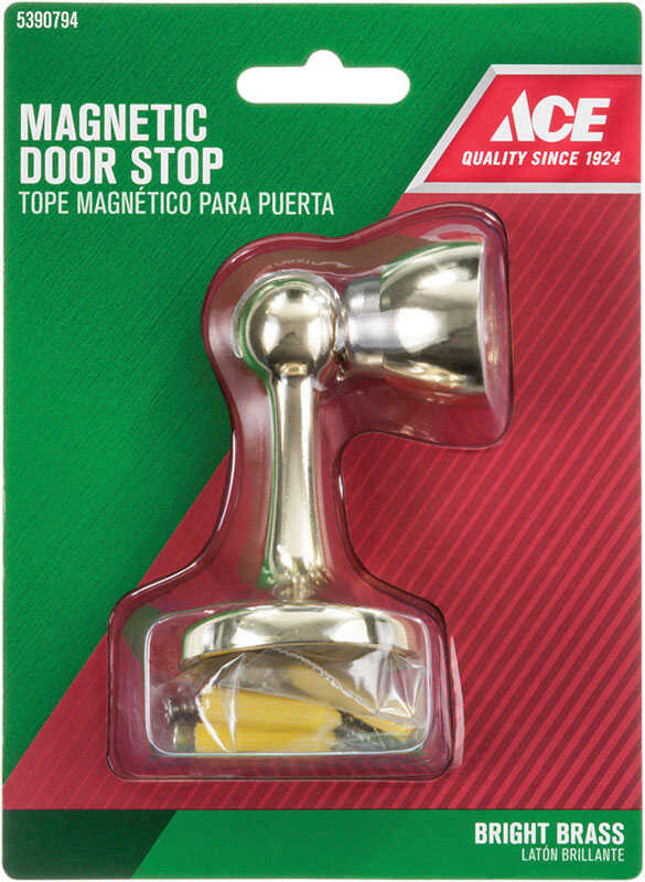 Ace  2.5 in. H Metal  Gold  Bright  Magnetic Door Stop  Mounts to door