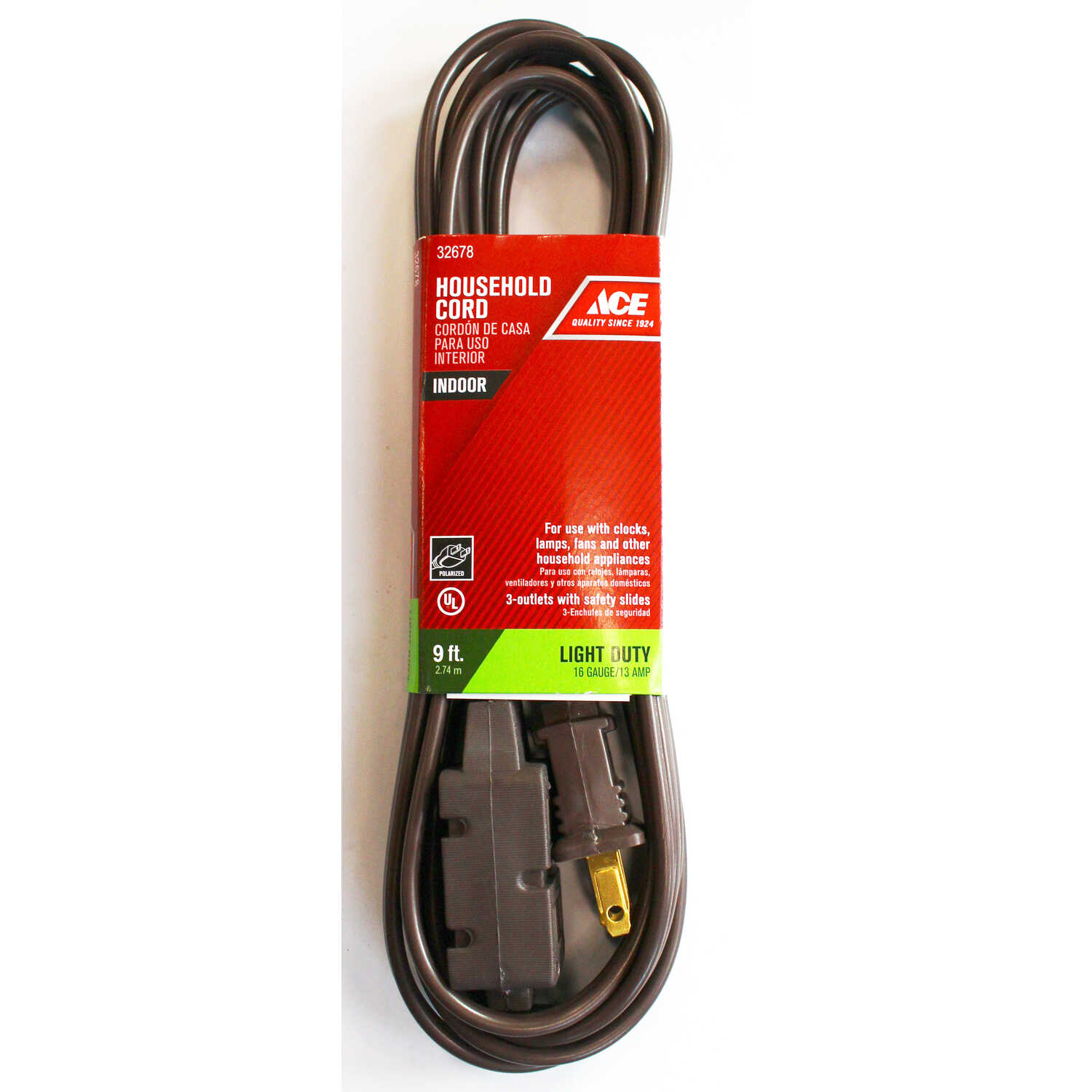 Ace  Indoor  9 ft. L Brown  Extension Cord  16/2 SPT-2