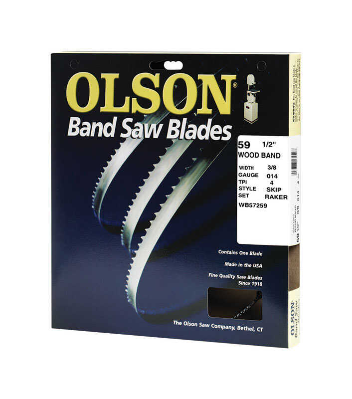 Olson  59.5 in. L x 0.01 in. thick  x 0.4 in. W Carbon Steel  4 TPI 1 pk Skip  Band Saw Blade