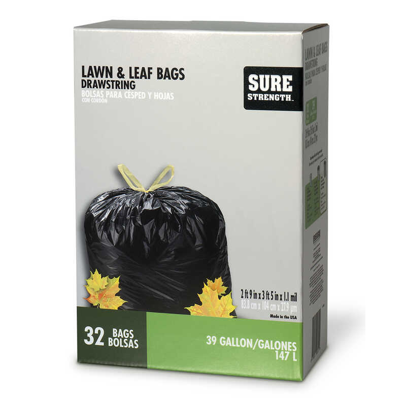 Sure Strength  39 gal. Lawn and Leaf Bags  Drawstring  32 pk