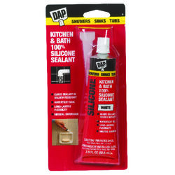 DAP White Silicone Kitchen and Bath Sealant 2.8 oz.