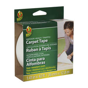 Duck Brand  1.41 in. W x 42 ft. L x 1.41 in. W x 42 ft. L Polyester  Indoor  Carpet Tape