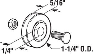 Prime-Line  1-1/4 in. Dia. x 1/3 in. L Steel  Roller Assembly  2 pk