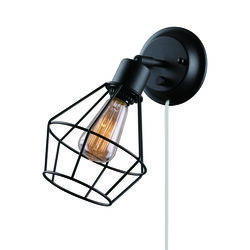 Globe Electric  2 in 1 Hardwire or Plug-In  1-Light  Matte  Black  Wall Sconce