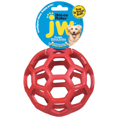 JW Pet  Hol-ee Roller  Red  Hol-ee Roller Ball  Rubber  Treat Holding Toy  Medium