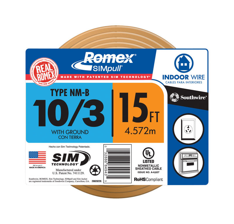 Southwire 15 ft. Solid Romex Type NM-B WG Non-Metallic 10/3 Wire ...