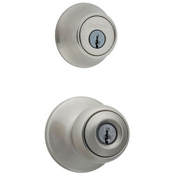 Kwikset  Polo  Satin Nickel  Entry Lock and Single Cylinder Deadbolt  ANSI/BHMA Grade 3  1-3/4 in.