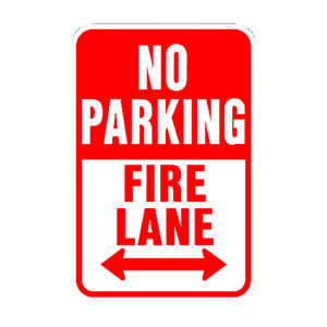 Hy-Ko  English  No Parking Fire Lane  12 in. W x 18 in. H Aluminum  Sign