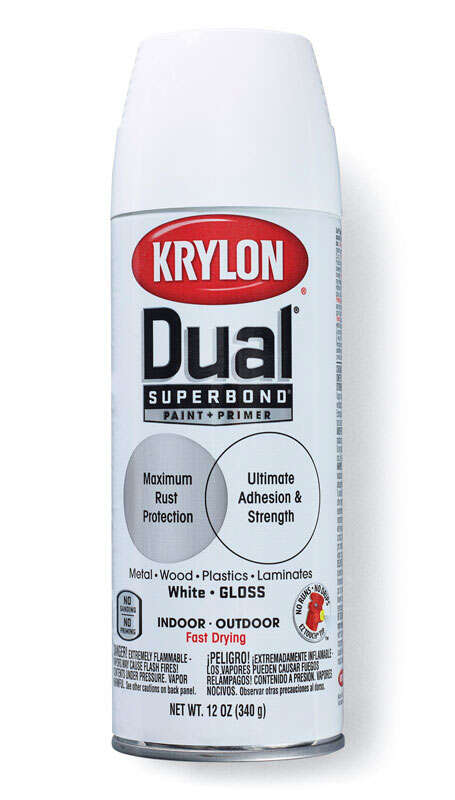 Krylon  Dual Superbond  Gloss  White  Paint + Primer Spray  12 oz.