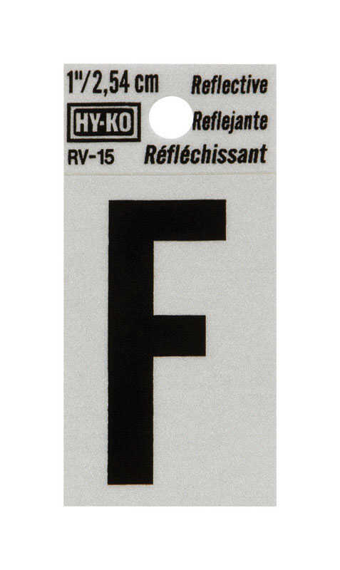 Hy-Ko  1 in. Reflective Vinyl  Black  F  Letter  Self-Adhesive