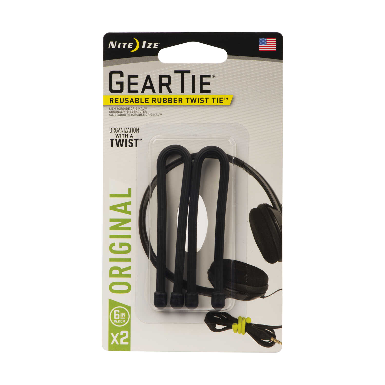 Nite Ize  Gear Tie  6 in. L Black  Twist Ties  2 pk