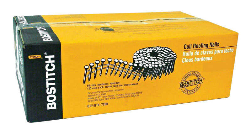 Stanley Bostitch  14 Ga. Smooth Shank  Straight Coil  Roofing Nails  1-3/4 in. L x 0.12 in. Dia. 7,2