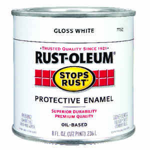 Rust-Oleum  Indoor and Outdoor  Gloss  White  Protective Enamel  0.5 pt.