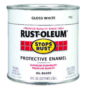 Rust-Oleum  Indoor and Outdoor  White  Protective Enamel  0.5 pt. Gloss