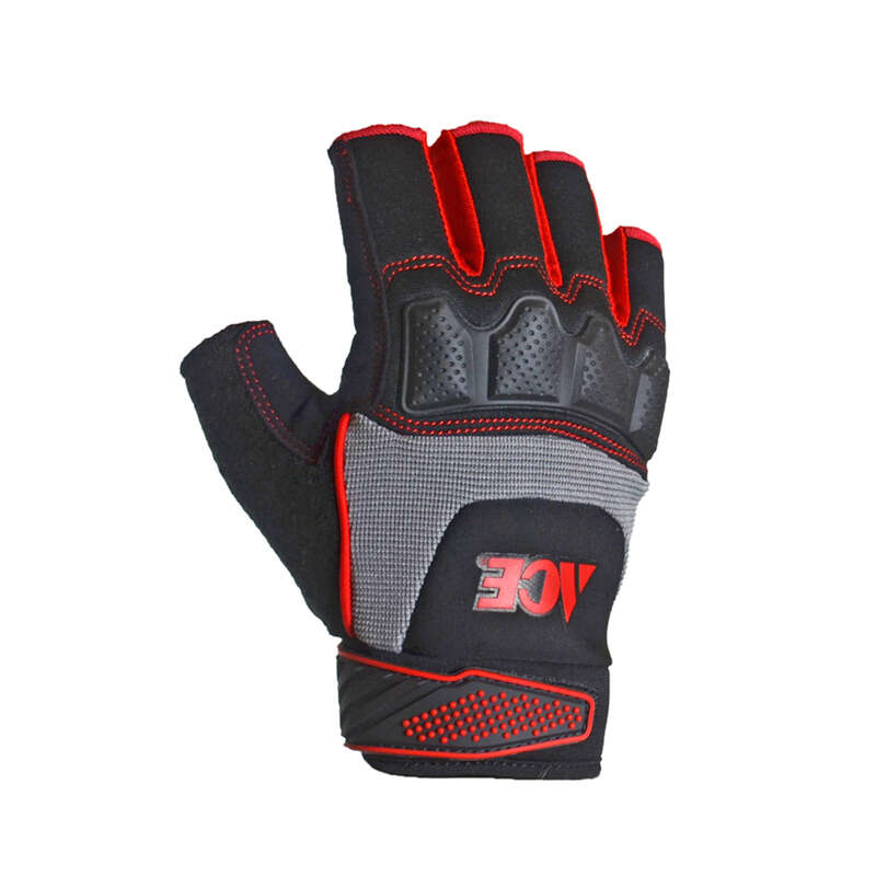 Ace  Men's  Indoor/Outdoor  Synthetic Leather  Fingerless  Work Gloves  Black/Gray  M  1