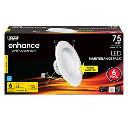 Feit Electric Enhance Bright White 5-6 in. W Aluminum LED Dimmable Recessed Downlight 75 watt