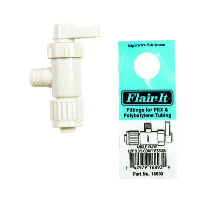 Flair-It  1/2 in. 3/8 in.  Plastic  Angle Stop Valve