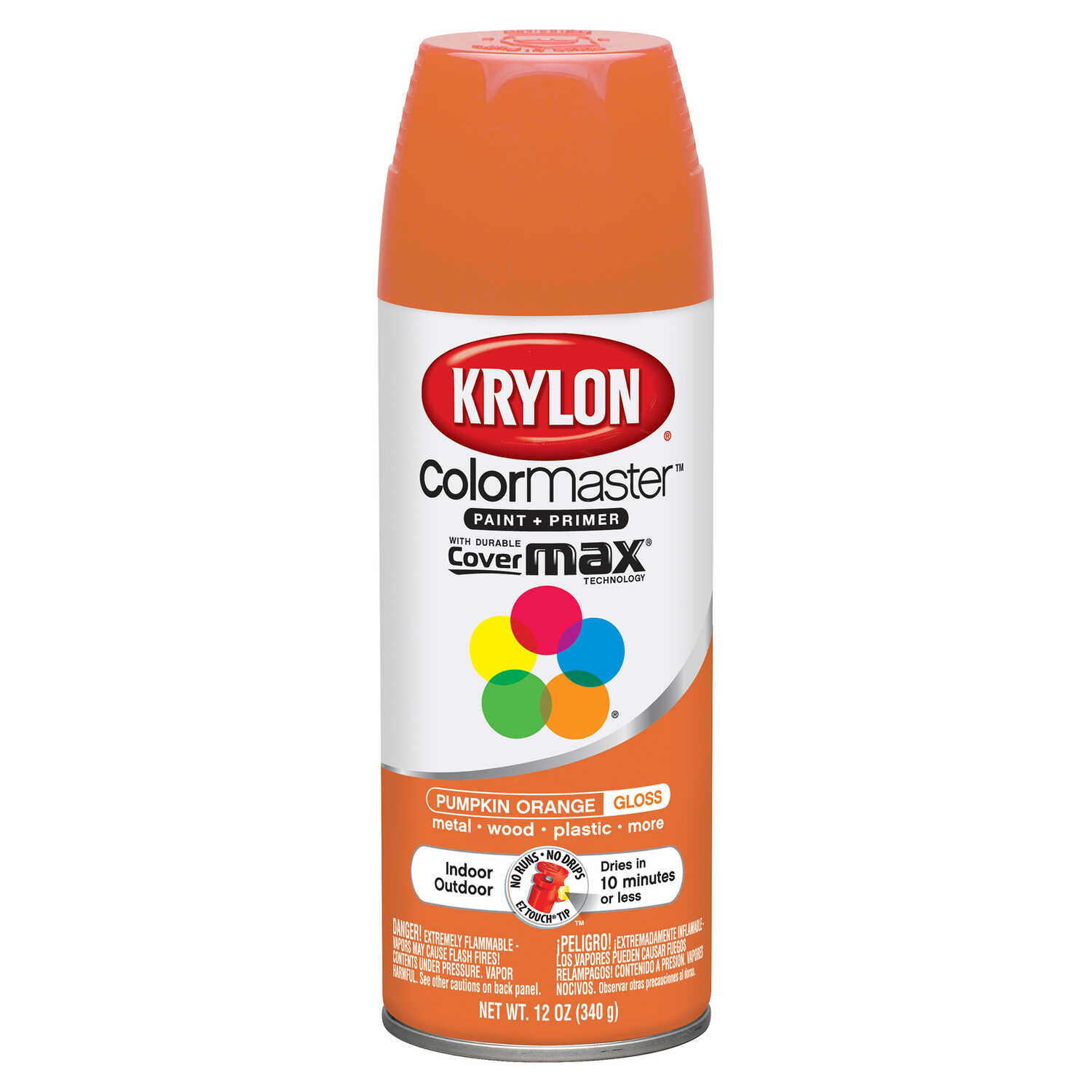 Krylon  ColorMaster  Gloss  Pumpkin  Spray Paint  12 oz.