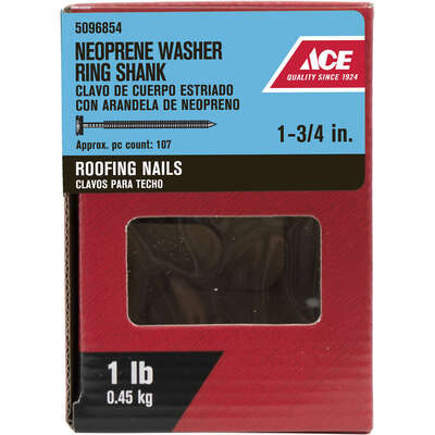Ace  1-3/4 in. Roofing  Galvanized  Steel  Nail  Round  1 lb.