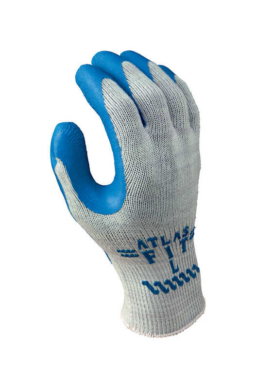 Atlas  Showa Atlas Fit  Unisex  Indoor/Outdoor  Rubber Latex  Coated  Work Gloves  Blue/Gray  L
