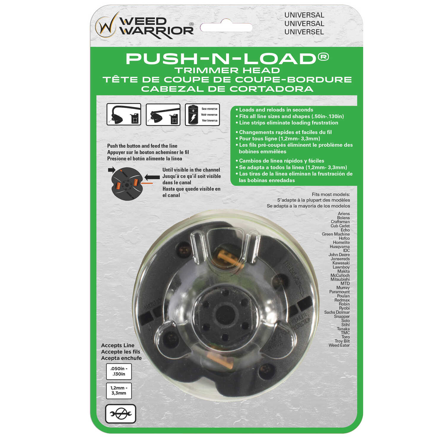 Weed Warrior  Push-N-Load  2-Line  0.095 in. Dia. x 10.13  L Trimmer Head