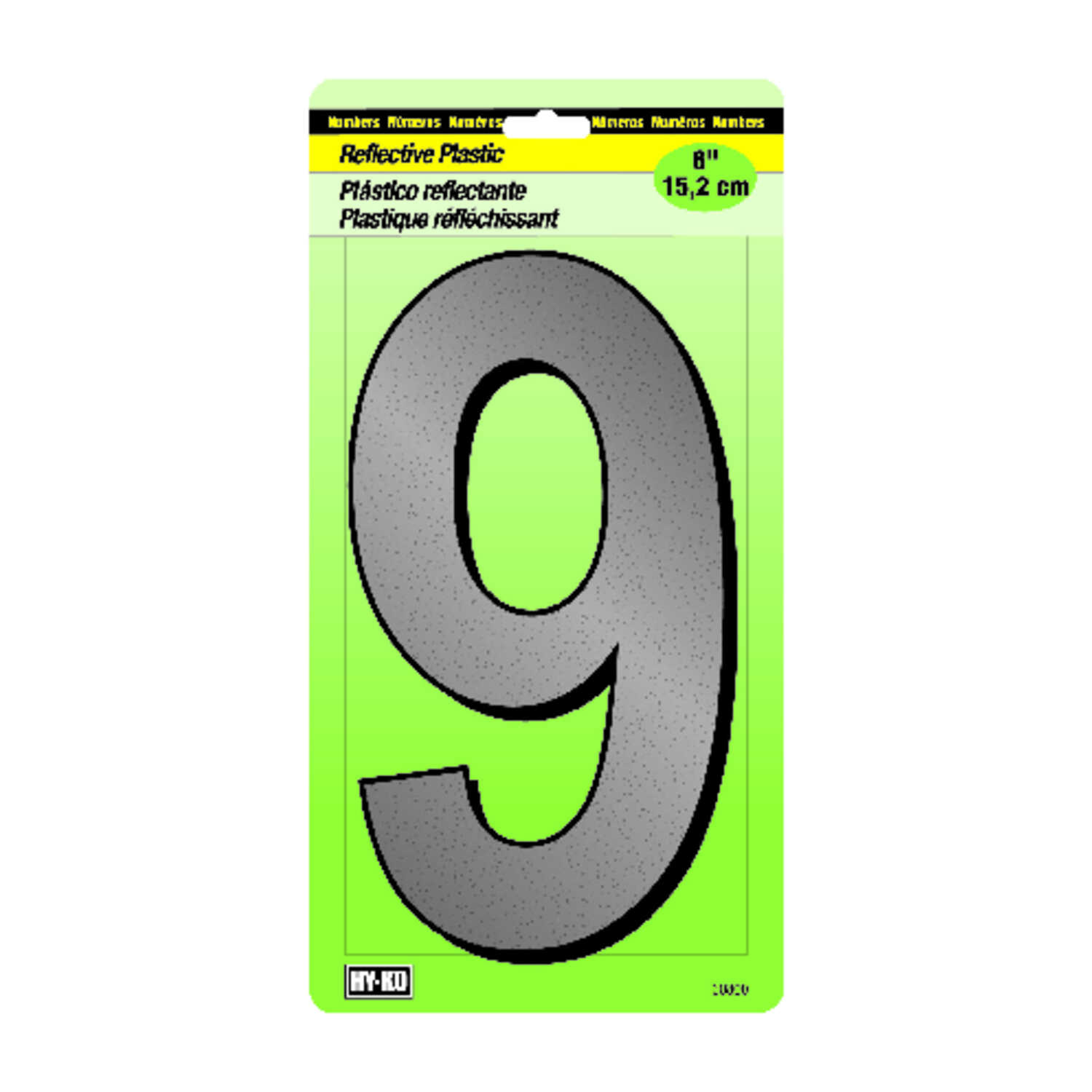 Hy-Ko  6 in. Reflective Black  9  Number  Nail-On  Plastic