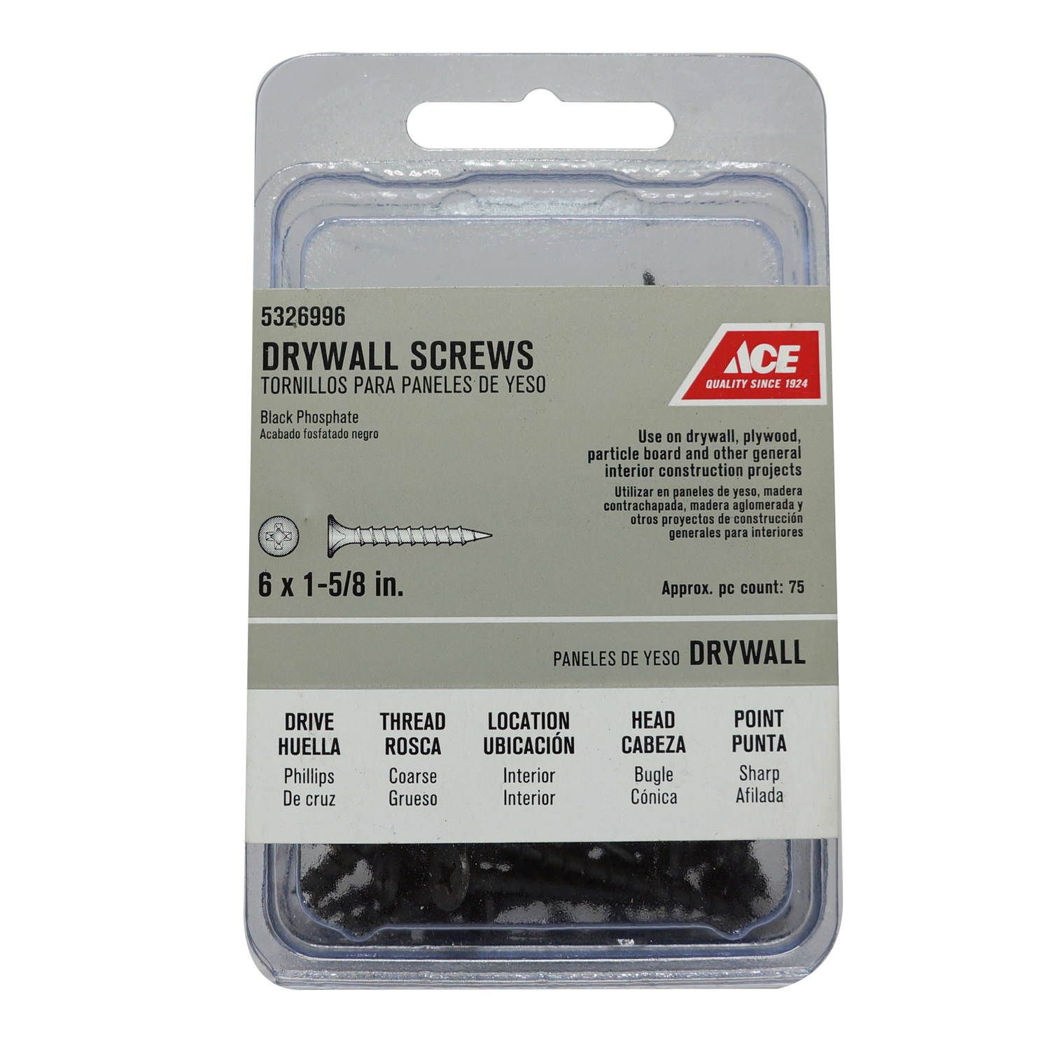 Ace  No. 6   x 1-5/8 in. L Phillips  Bugle Head Black Phosphate  Steel  Drywall Screws  75 EA