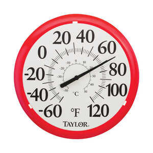 Taylor  Dial Thermometer  Red  Plastic