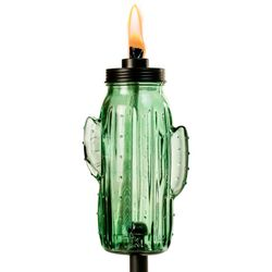 Tiki Green Glass 65 in. Cactus Tabletop Torch 1 pk
