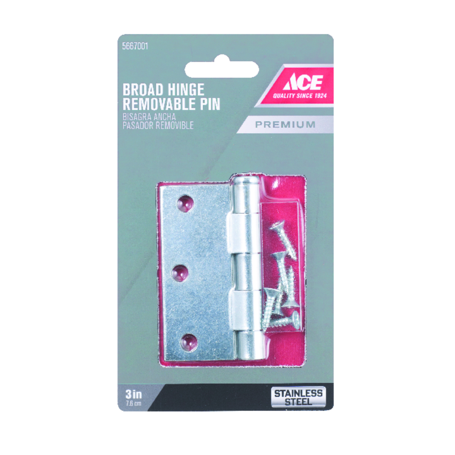 Ace  3 in. L Stainless Steel  Stainless Steel  Door Hinge  1 pk