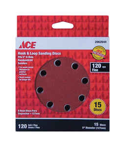 Ace  Aluminum Oxide  5 in. Sanding Disc  120 Grit 15 pk Fine  Hook and Loop
