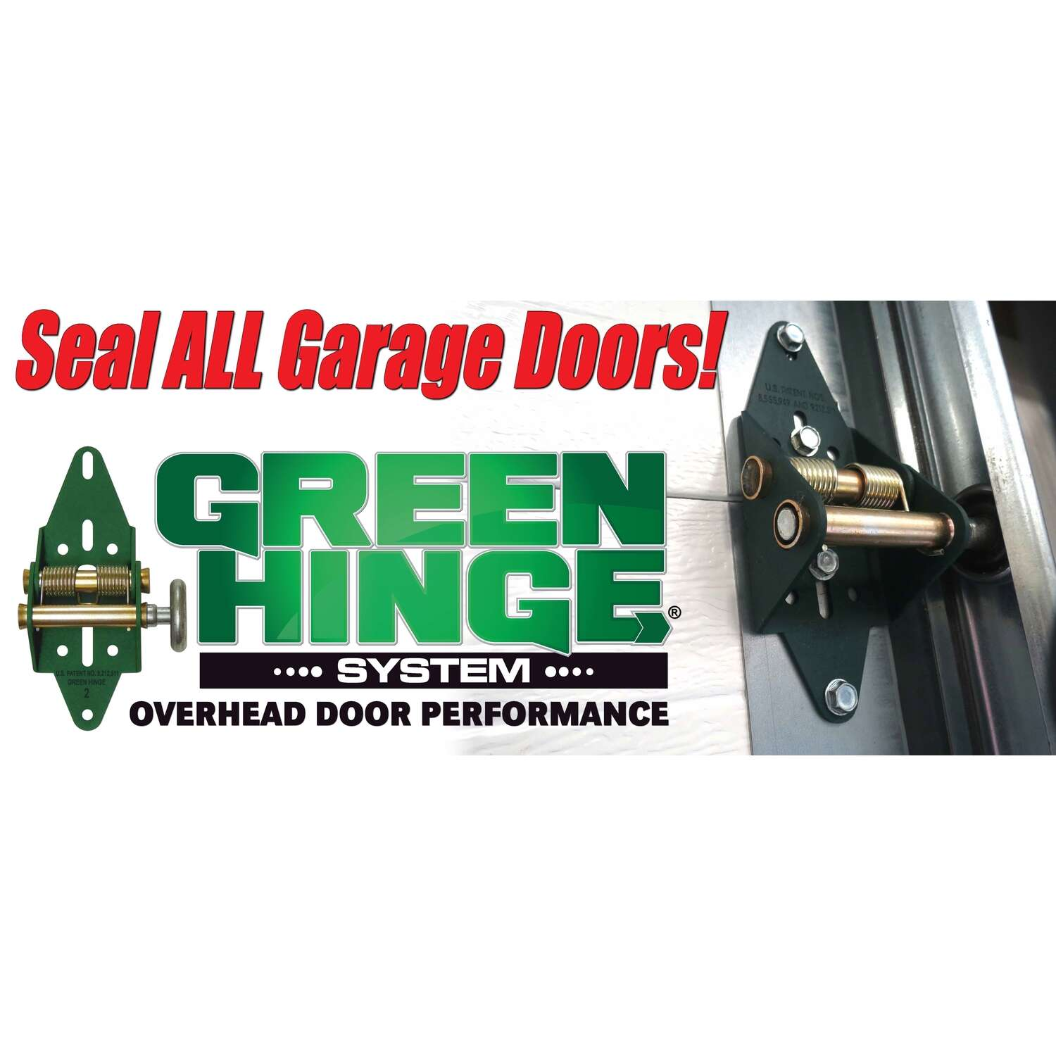 Green Hinge System  3.25 in. W x 7.5 in. L Steel  Residential Garage Door Hinge