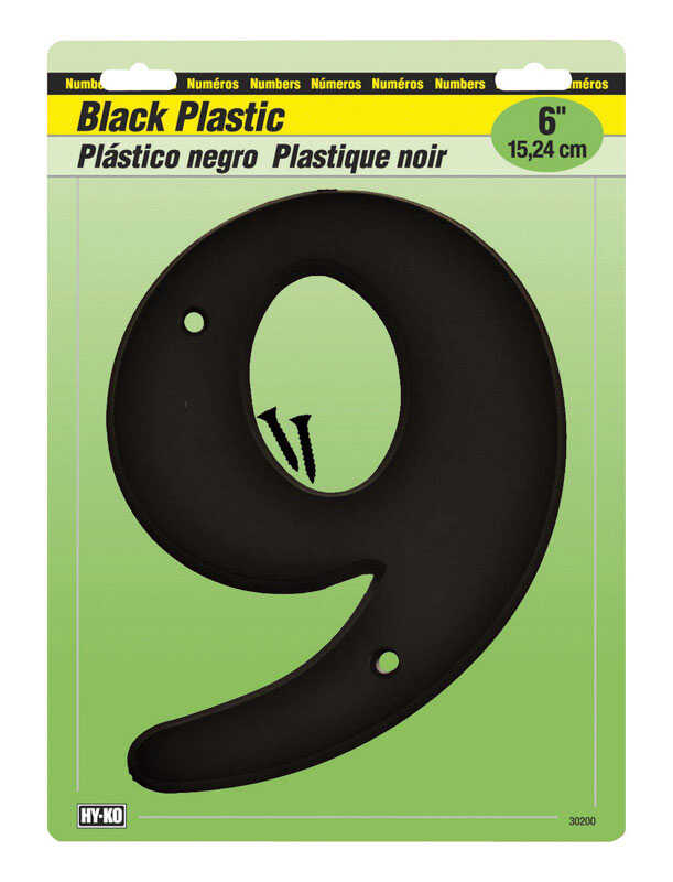 Hy-Ko  6 in. Plastic  Black  9  Number  Mounting Screws