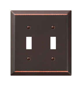 Amerelle  Century  Antique Bronze  Bronze  2 gang Stamped Steel  Toggle  Wall Plate  1 pk
