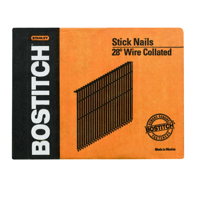 Stanley Bostitch 28 deg. 11 Ga. Smooth Stick Framing Nails 3 in. L ...
