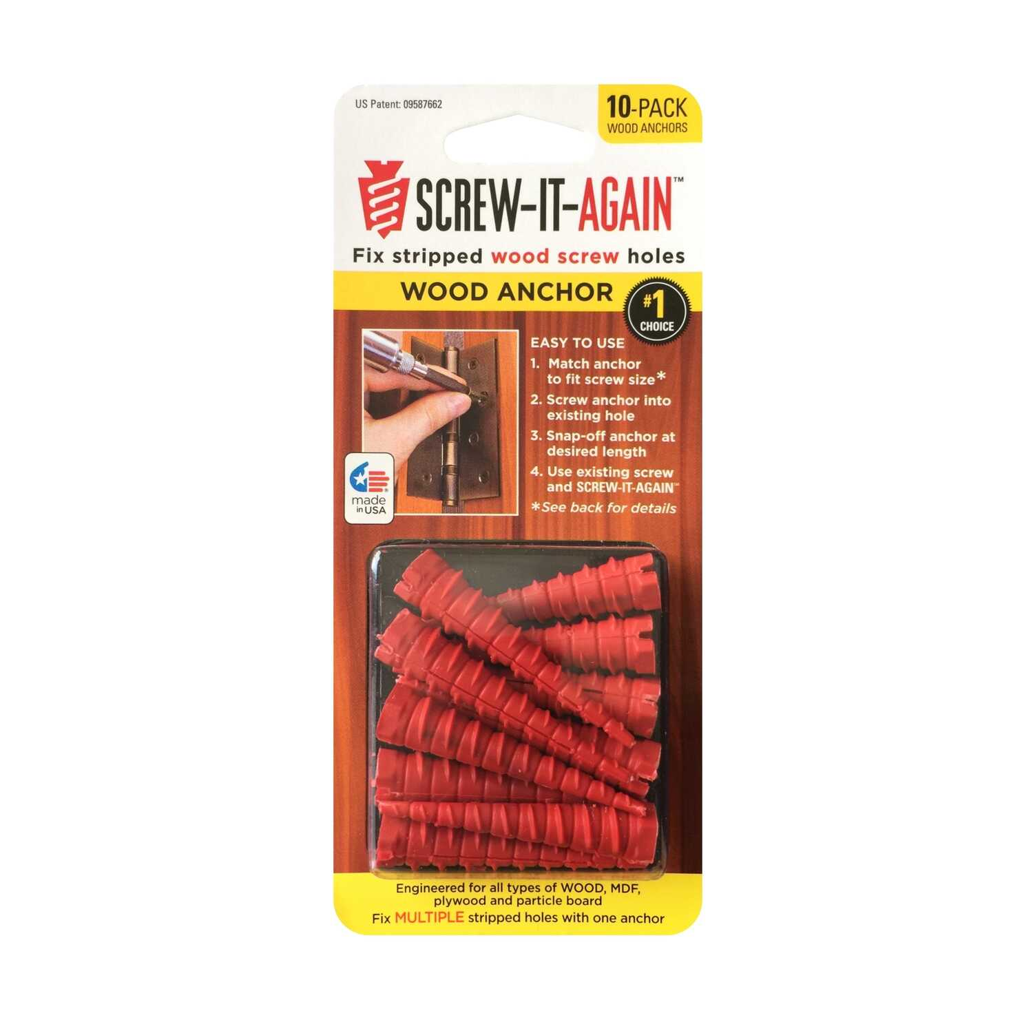 Screw-it-Again  1/4 in. Dia. x 2 in. L Polypropylene  Hex Head Wood Anchor  10 pk